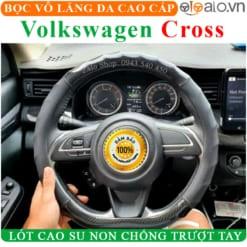 Bọc vô lăng xe Volkswagen Cross Da Cao Cấp Lót Cao Su Non - OTOALO